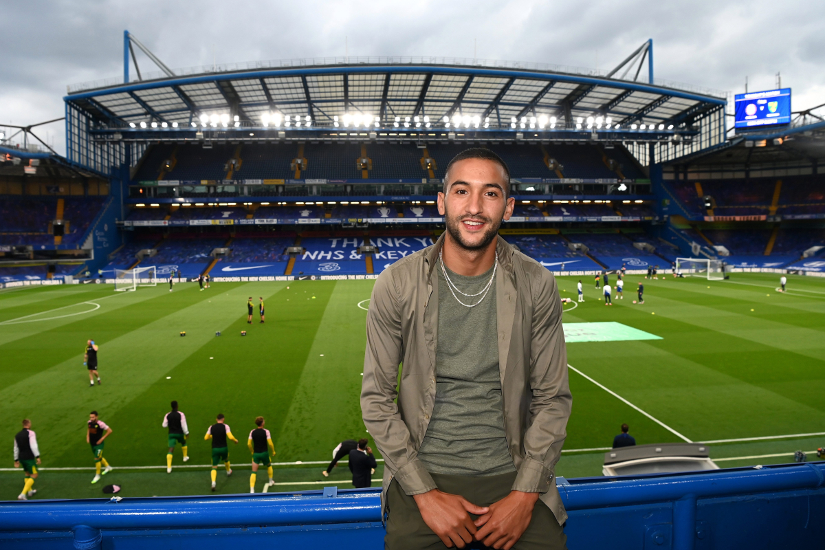 Hakim Ziyech attends Chelsea vs Norwich to cheer on new teammates at Stamford Bridge following £33million switch from Ajax