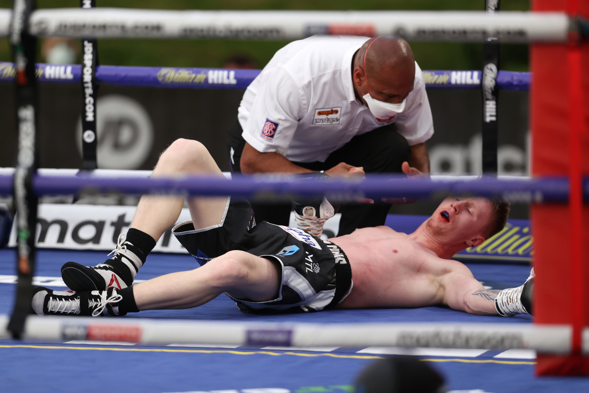 Impressive prospect Dalton Smith makes statement with big one-punch KO at Eddie Hearn's back garden Fight Camp, referee counts for no reason