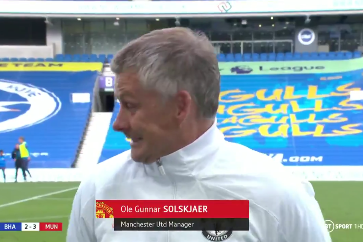 Ole Gunnar Solskjaer 'relieved' Jose Mourinho didn't measure Brighton goalposts as Manchester United boss gets another scare in post-match interview