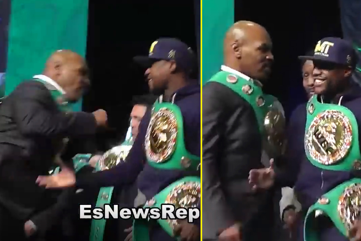 Watch when Mike Tyson threw a punch at Floyd Mayweather on stage and Mayweather didn't even flinch