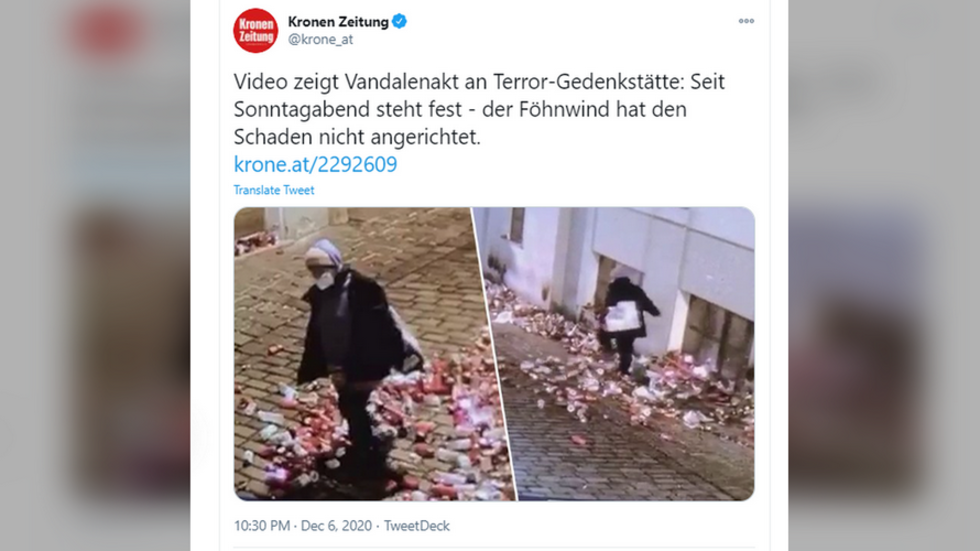 'Who would do that?' Austrians shocked after seeing VIDEOS of vandal trashing memorial to victims of Vienna terrorist attack