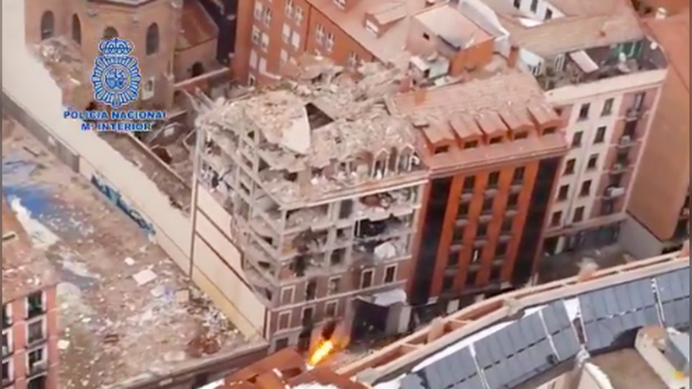 Scale of catastrophe web site after deadly Madrid explosion revealed in aerial footage filmed by Spanish police (VIDEO)